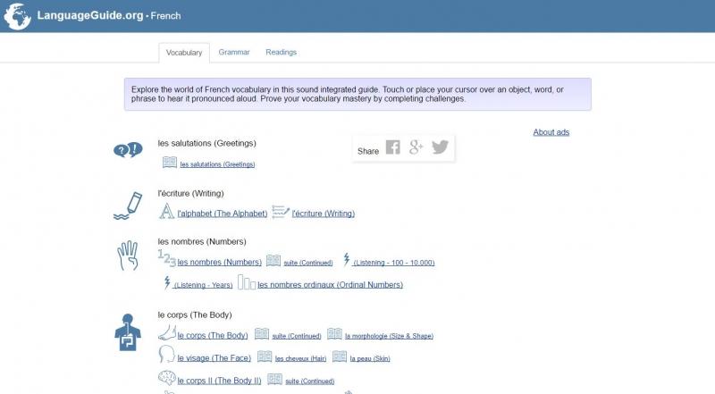 Language Guide là trang web học tiếng Pháp dành cho người mới bắt đầu học
